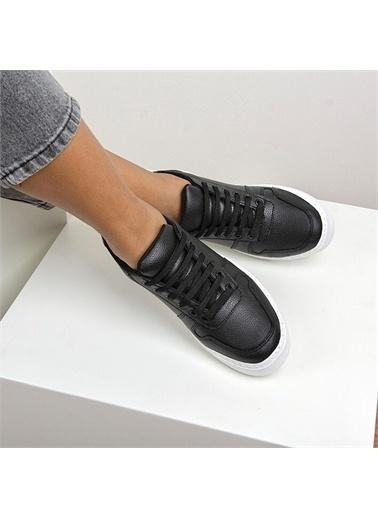 OKHU SHOES Kadın Suni Deri Beyaz Taban Günlük Sneaker Spor Ayakkabı Siyah
